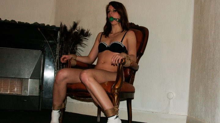 StrugglingBabes.com – Chairtied elbows strapped.. Diana 2016 Gagged